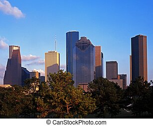 Skyscrapers, Houston, USA - City skyline in late afternoon...
