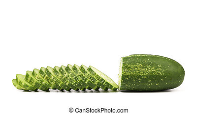 Slices of cucmber. - Slices of cucmber isolated on a white...