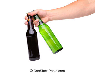 Hand with two bottle of beer on a white background