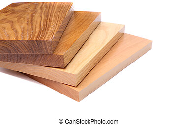 Four boards acacia, oak, elm, lime White background