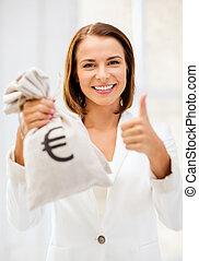 executiva, Dinheiro, segurando, saco