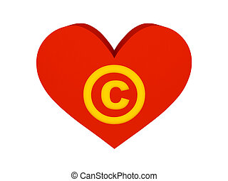 Big red heart with copyright symbol. Concept 3D...