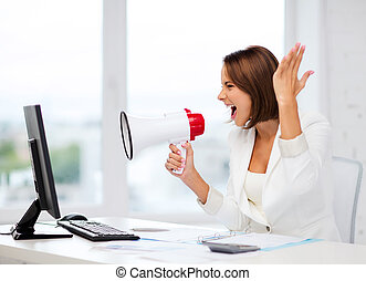 Strict businesswoman shouting in megaphone - business and...