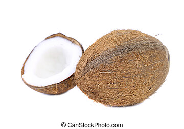 Half and safe coconut. Isolated on a white background.