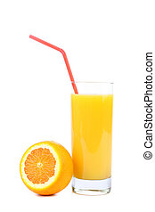 orange and juice isolated on white - orange and juice...