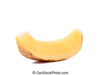 cantaloupe melon slice isolated on a white background