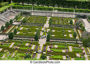 Kitchen garden in Chateau de Villandry. Loire Valley, France...