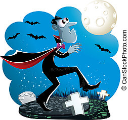 Dracula Cartoon - Vector illustration of Dracula creeping in...
