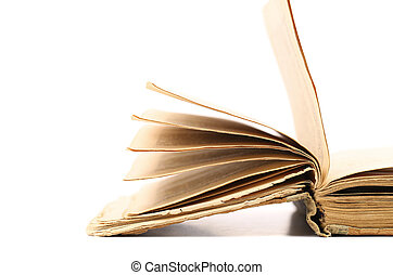 Opened old book isolated on a white background