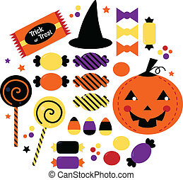 Halloween cute sweet Candy collection isolated on white -...