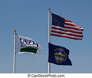 American Flag, USDA, Nebraska - Group of flags flying: USDA,...