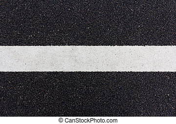 Line painted on the road with white paint
