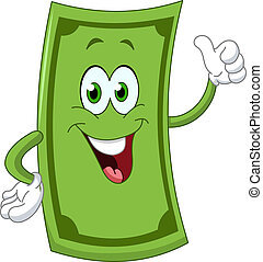 Dollar cartoon showing thumb up