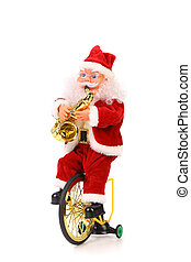 Santa Claus plays the saxophone on bicycle White background...