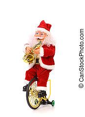 Santa, Claus, jeux, saxophone, Vélo