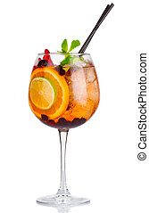 Alcohol cocktail with fresh mint and fruits mix isolated