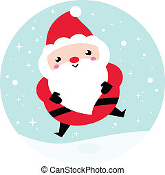 Kawaii Christmas Santa on snowing background