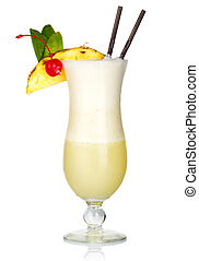 Alcohol cocktail with milk and fruits slices isolated on white