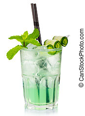 Green alcohol cocktail with fresh mint and cucumber slices isolated on white background