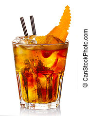 Manhatten alcohol cocktail with orange fruit slices isolated...