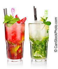 Two mojito cocktails with strawberry and lime fruits...
