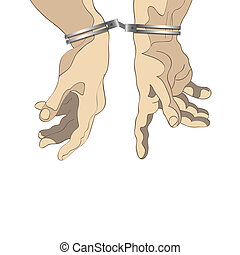 Man hands with handcuffs. Vector illustration