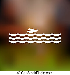 Stylized cruise liner and waves Vector illustration