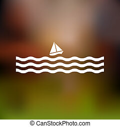 Stylized Sailboat and waves Vector illustration
