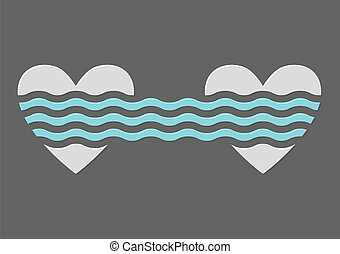 Two hearts. Concept vector illustration