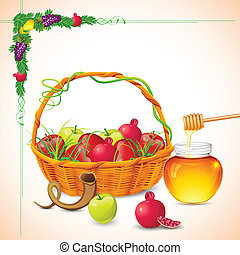 Rosh Hashanah - illustration of Rosh Hashanah background...