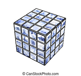 3d cube with photos of blue color