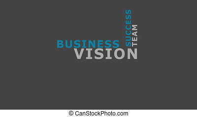 Vision in business concept word tag cloud animation