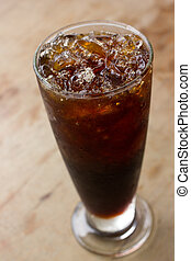 Ice black coffee - Delicious ice coffee americano on wood...
