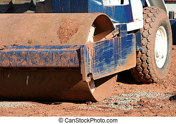 Steamroller - A steamroller at a construction site
