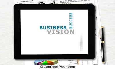 Vision in business concept - Tablet pc with word tag cloud...