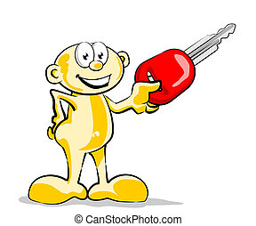 My car key - Conceptual illustration of a small man with a...