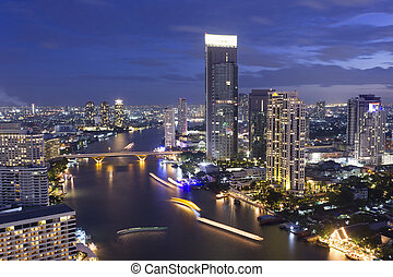 A view of Chao Praya River, Bangkok City on high building,...