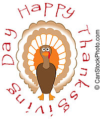 turkey - vector card for thanksgiving day