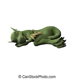 Sleeping Dragon - 3D digital render of a cute little...