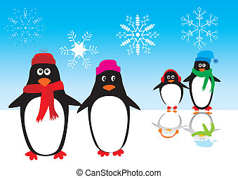 penguin - vector penguin family