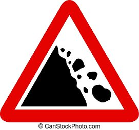 falling rocks sign - Falling rocks warning sign isolated on...