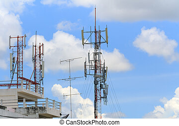 Communicate. - Communications antenna on the building.