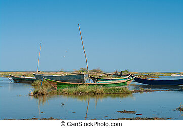 African traditional fishing boats at lake Turkana, Kenya