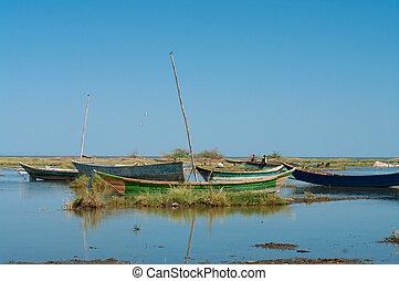 African traditional fishing boats at lake Turkana, Kenya