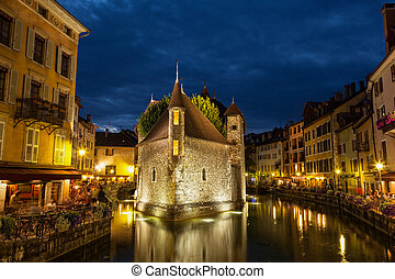 Palais de lisle by night in Annecy - France