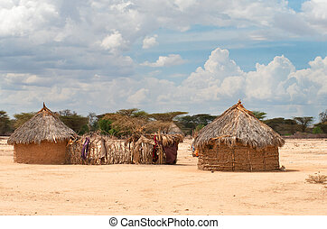 Traditional african  huts in  Kenya