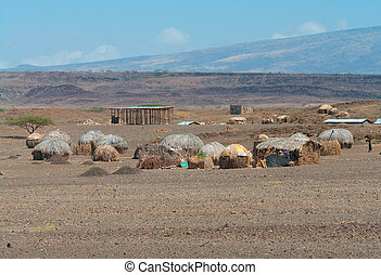Huts near Lake Turkana, Kenya