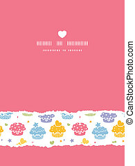 Vector colorful cupcake party vertical torn seamless pattern...