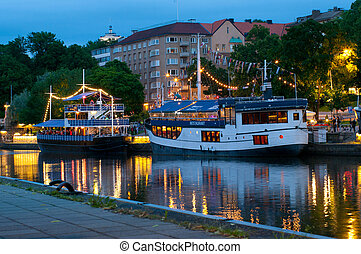 View to the Aura river at night in Turku,Finland - TURKU,...