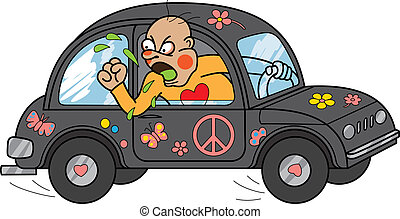 Angry driver - Furious driver leaning out of window making...